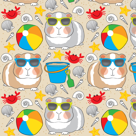 guinea-pigs-at-the-beach-on-tan fabric by lilcubby on Spoonflower - custom fabric