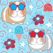 patriotic guinea pigs on blue