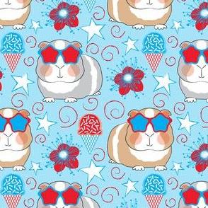 patriotic guinea pigs on blue