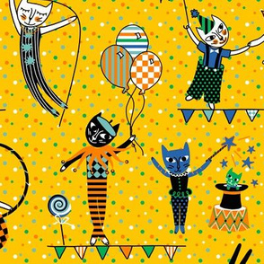 circus cats - yellow