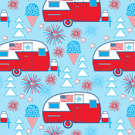 patriotic trailers on blue fabric by lilcubby on Spoonflower - custom fabric