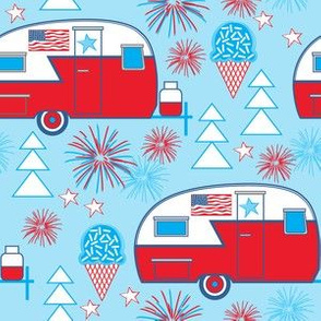 patriotic trailers on blue
