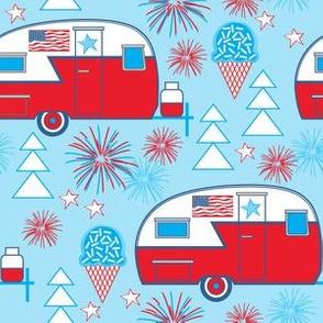patriotic trailers on blue