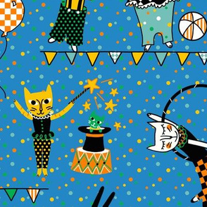 circus cats - teal blue