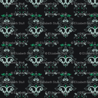 black and turquoise damask fabric ecsdesigns spoonflower