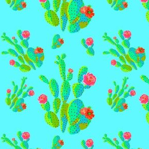 "4"" Retro Cactus - Neon Green & Bright Aqua"