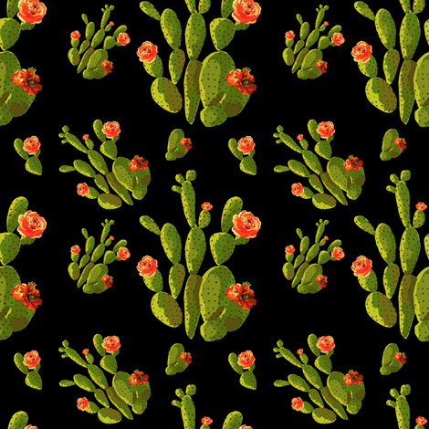 "4"" Retro Cactus - Orange, Green, & Black fabric by rebelmod on Spoonflower - custom fabric"
