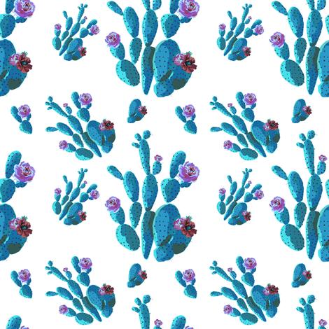"4"" Retro Cactus - Blue fabric by rebelmod on Spoonflower - custom fabric"