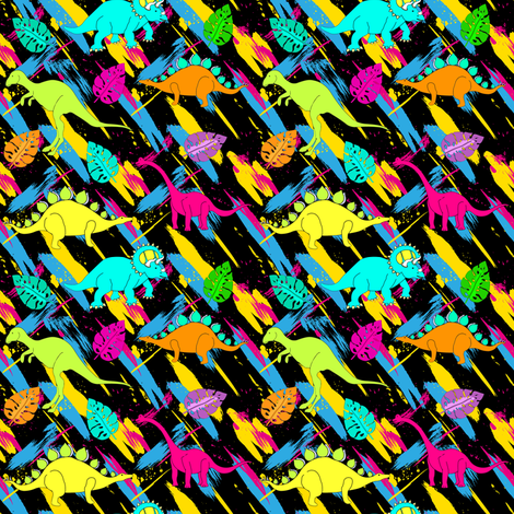 "4"" Rock on Dino - Vintage 80s fabric by rebelmod on Spoonflower - custom fabric"