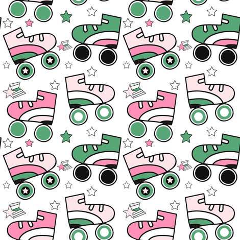 "4"" This is How I Roll - Light Pink & Green fabric by rebelmod on Spoonflower - custom fabric"
