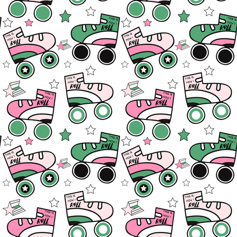 """4"""" This is How I Roll - Light Pink & Green with Quote fabric by rebelmod on Spoonflower - custom fabric"""