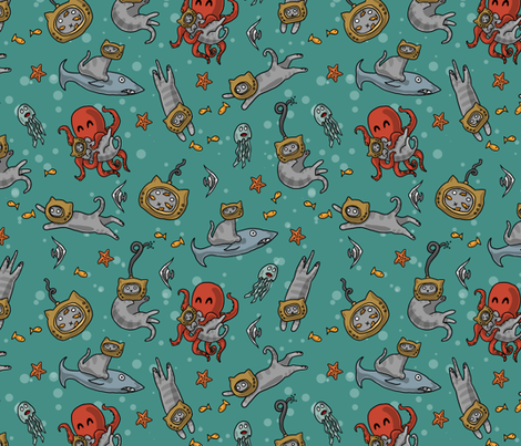 Deep Sea Cats fabric by amber_morgan on Spoonflower - custom fabric