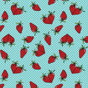 Strawberries on white dots and aqua background