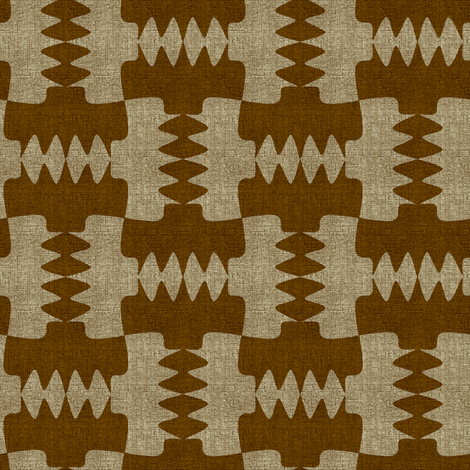 Werewolf Tooth Brown and Ecru Linenlook fabric by eclectic_house on Spoonflower - custom fabric