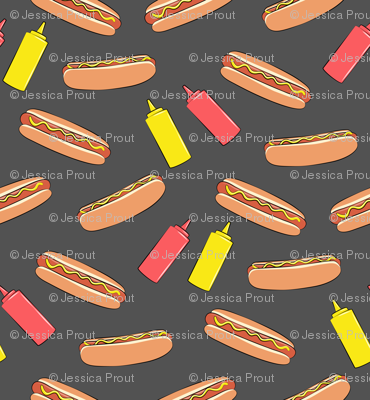 hot dog on dark grey with condiments