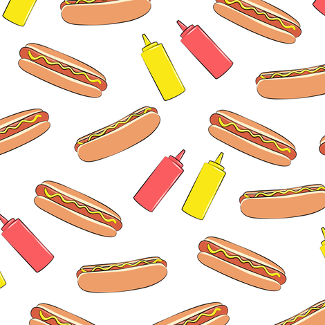hot dogs with condiments fabric by littlearrowdesign on Spoonflower - custom fabric
