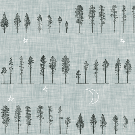 Midnight Forest (grey) fabric by nouveau_bohemian on Spoonflower - custom fabric
