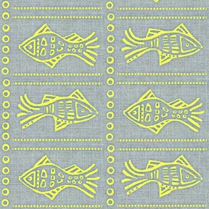 Fish Etch -  yellow on grey