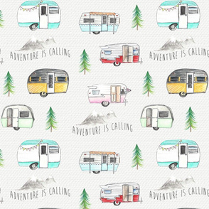 Retro Camper - Adventure is Calling Watercolour