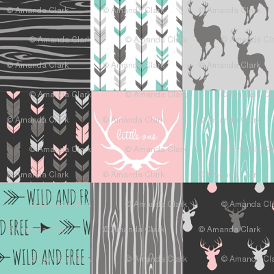 Patchwork Deer - Deep Aqua and Pink, Black