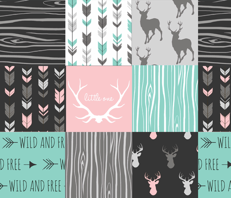 Patchwork Deer - Deep Aqua and Pink, Black fabric by sugarpinedesign on Spoonflower - custom fabric
