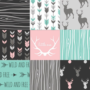 Patchwork Deer - Deep Aqua and Pink, Black