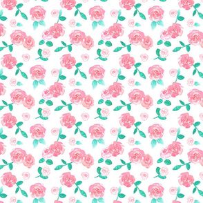 Watercolor Pink Roses Floral Pattern