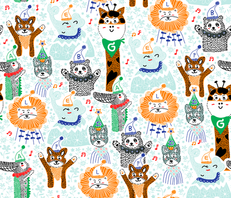 animals-alphabet-party fabric by y_me_it's_me on Spoonflower - custom fabric