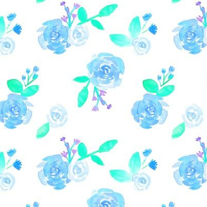 Blush Blue Watercolor Roses Floral Pattern