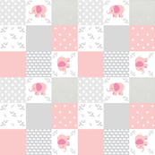 elephant quilt pink gray clouds- SMALL 9 wholecloth