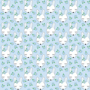 tiny bunnies-and-forget-me-knots-on-blue