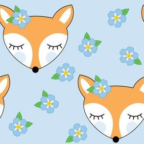 large foxes-with-forget-me-nots on blue
