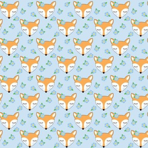 small foxes-with-forget-me-nots on blue