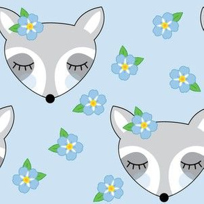 large raccoons-with-forget-me-nots-on-blue