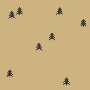 Christmas tree spruce - black on sand black trees forest mustard || by sunny afternoon