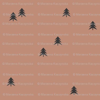 Spruce Christmas tree - black on clay forest woods || by sunny afternoon