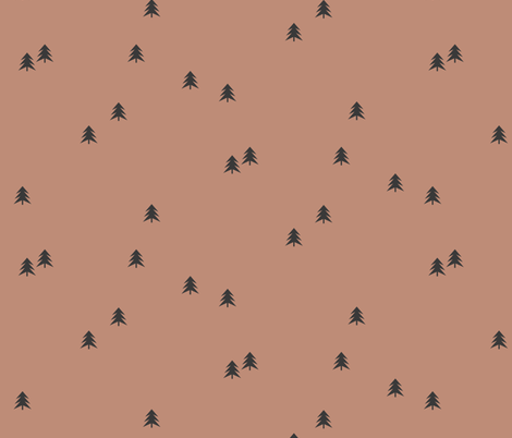 Spruce Christmas tree - black on clay forest woods || by sunny afternoon fabric by sunny_afternoon on Spoonflower - custom fabric
