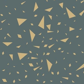 Scaterred triangles - sand yellow on deep ocean blue || by sunny afternoon