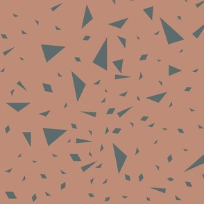 Scaterred triangles - blue on clay || by sunny afternoon