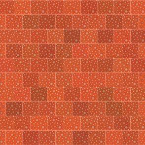 Hexagons Orange Brick Upholstery Fabric