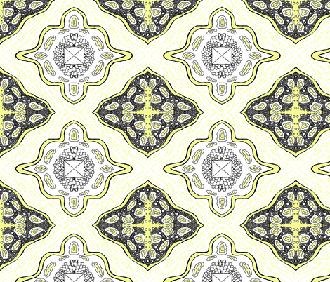 Medallion Waves-Yellow fabric by essieofwho on Spoonflower - custom fabric