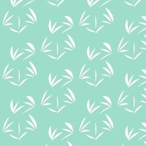 Snowy White Oriental Tussocks on Aqua Pearl - Small Scale