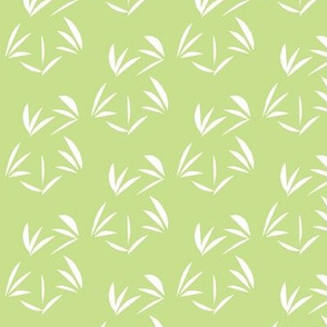 Snowy White Oriental Tussocks on Cool Spring Green - Small Scale
