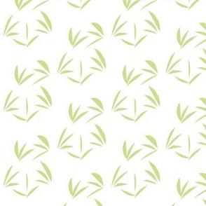 Cool Spring Green Oriental Tussocks on Snowy White