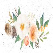 Peach Floral Single on Black Splattered Background