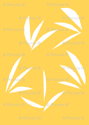 Snowy White Oriental Tussocks on Orange Fizz - Small Scale