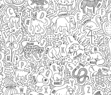 color-in alphabet fabric by marta_strausa on Spoonflower - custom fabric