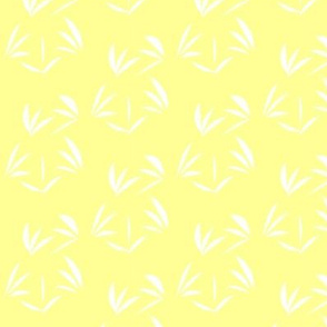 Snowy White Oriental Tussocks on Sunbeam Yellow - Small Scale
