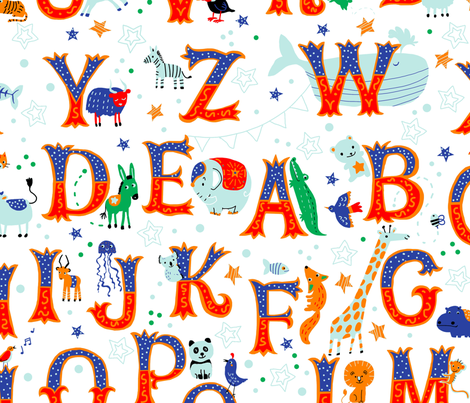 circus-alphabet-white fabric by gaiamarfurt on Spoonflower - custom fabric