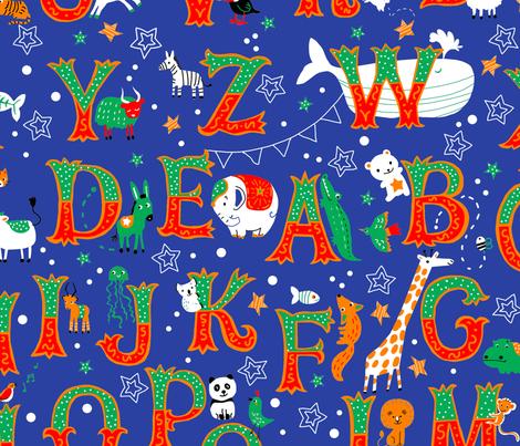circus-alphabet-blue fabric by gaiamarfurt on Spoonflower - custom fabric